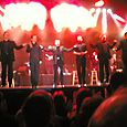 Frankie Valli at the end of his show with some of the cast